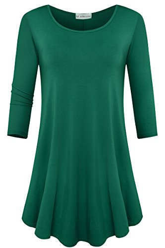JollieLovin Womens 3/4 Sleeve Loose Fit Swing Tunic Tops Basic T Shirt (Deep Green, 1X)]()