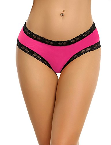 a2b39bd31e2 Avidlove Women Lace Underwear Bow-Tie Panties Sexy Bikinis Open Crotch  Lingerie Rose Red Large
