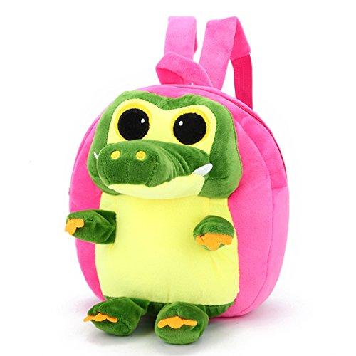 JIEEN Plush Crocodile Kindergarten Backpack Small Dinosaur School Bag for Toddler Kids (Rose ()