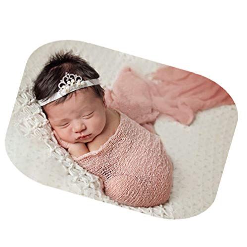 Newborn Baby Photography Shoot Props Outfits Baby Scarf Luxury Stretch Wrap Yarn Cloth Blanket Photo Props (Snow Bud Color) ()