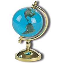 Desktop Paperweight Spinning Globe, Aqua Crystal Earth Sphere, 22k GoldPlated Stand, 4 Inches Tall