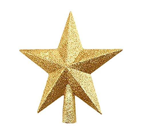 Seipe Christmas Tree Topper Star Festive Home Office Decor Glittered Mini Star Gold S