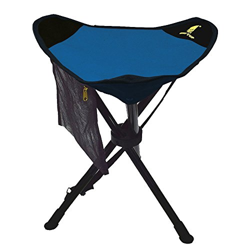 Legs Folding Chairs - Geertop Large Folding Tripod Stool Slacker Chair With Mesh Pocket For Fishing & Camping & Hiking (Blue)