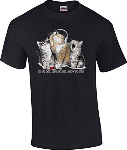 T-ShirtQueen Men's Funny See No Evil Hear No Evil Meow No Evil Kitty Cat T-Shirt Medium Black