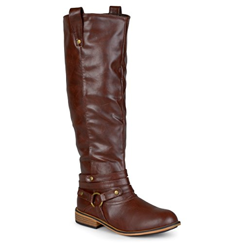 Journee Collection Womens Walla Regular and Wide-Calf Ankle-Strap Knee-High Riding Boot Medium Chestnut 8.5 Medium Width/Medium Calf Medium tmyD603TRE