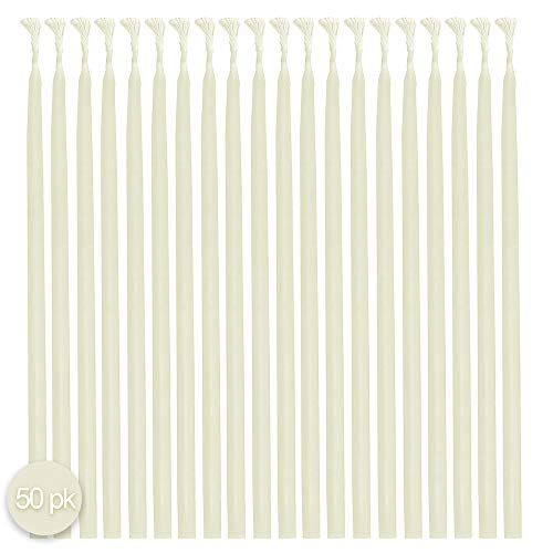 Hyoola Beeswax Skinny Taper Candles - 50 Pack - Natural Dripless Decorative Candles with Long Lasting Burn - Elegant Taper Design, Soothing Scent - 9