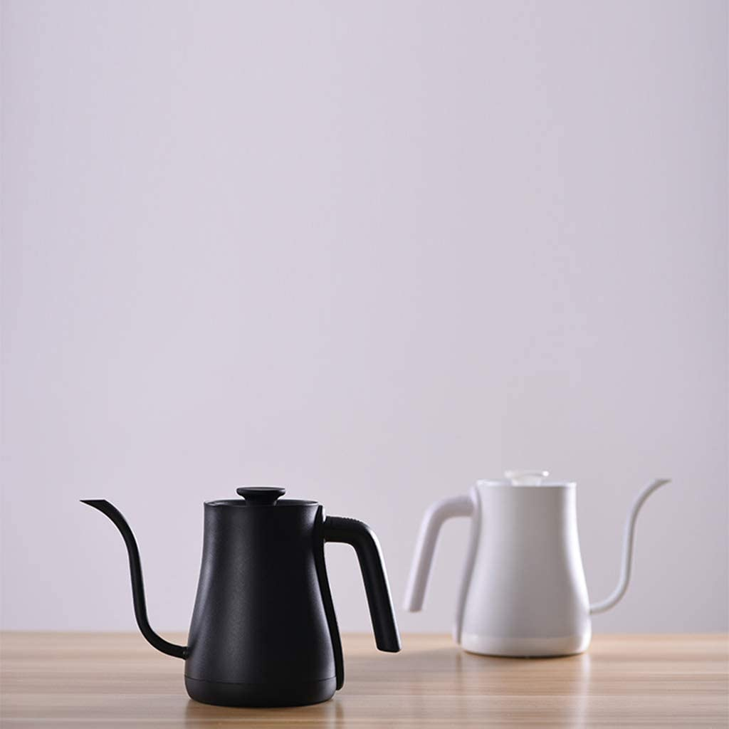 FYJK Wasserkocher mit Variabler Temperaturregelung, 0.6L Gooseneck Übergieß-Kessel für Drip Kaffee und Tee-Kessel mit LCD-Display und warm halten Funktion Kettle,Schwarz White