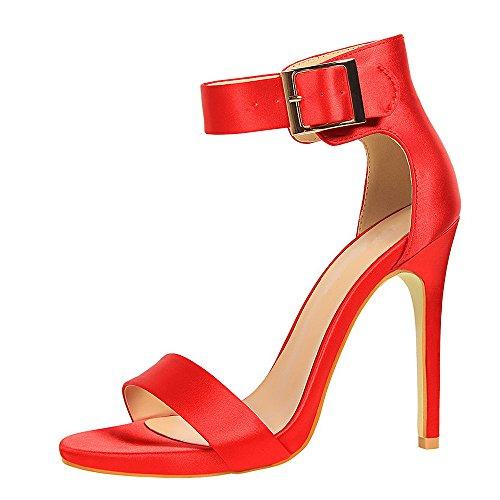 Sexy Estivi Estate Cinturino Rosso1 Sandali Eleganti Elegant con Tacco Lacci Donna Caviglia Tacco Alto Sandali Alti qianchuangyuan Scarpe BXwaYExqY
