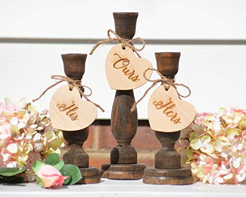 CELYCASY Country Unity Candle Holders Western Wedding Unity Candle Set Woodland Wedding Decor Set of 3 ()