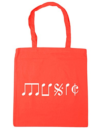 HippoWarehouse Music Note Type Tote Shopping Gym Beach Bag 42cm x38cm, 10 litres Coral