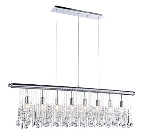 Saint Mossi Modern Crystal Linear Raindrop Chandelier Lighting Flush Mount LED Ceiling Light Fixture Pendant Lamp for Dining Room Bathroom Bedroom Livingroom 8E12 Base H12