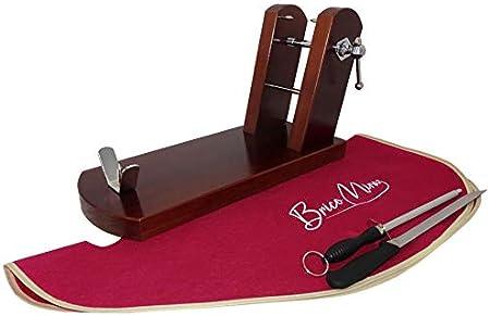 BRICOMIRAS JAMONERO Modelo Rioja Home Color Nogal, Regalo Cuchillo JAMONERO + CHAIRA + CUBREJAMÓN, Soporte JAMONERA Ideal Uso Profesional Y DOMÉSTICO (Nogal, Cubrejamón Burdeos)