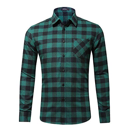 ZHPUAT Men's Plaid Flannel Slim Fit Long Sleeve Casual Button Down Dress Shirt-Green-L