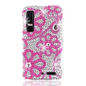 Motorola Droid 3 Snap on Cover Diamond Bling Faceplate hot pink lace daisy flowers ()