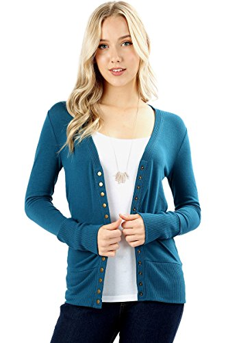 Cardigans for Women Long Sleeve Cardigan Knit Snap Button Sweater Regular & Plus - Teal (Size 3X) ()