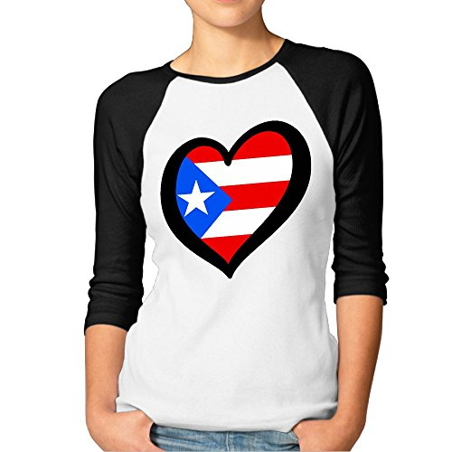 Women Heart Shaped Puerto Rico Flag 3/4 Sleeve Long Raglan Baseball Jersey (Jersey Baseball Heart)