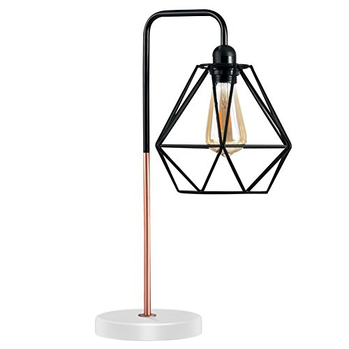 Diamond Cage Desk Lamp, Motent Modern Pyramid Birdcage Metal Table Light, Antique Iron Wrought Bracket Stand, Industrial Steampunk Desk Accent Lamp, Vintage Lampshade for Loft Parlor Cafe - 057 Black
