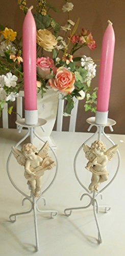 Metal Cherub Candle Holders - Upcycled, Vintage, Shabby Chic, Cherub Candle Holders, Tabletop Candle Holders, Antique White, Hand Painted, Metal Construction