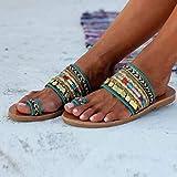 Women Flat Sandals Summer,SIN+MON Women's Boho Flip Flops Sandals Toe Ring Sandal Anti Slip Slippers Handmade Greek Style