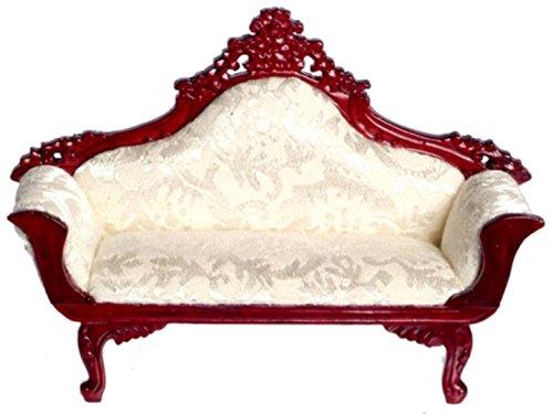 Dollhouse Minature Platinum Victorian Parlor Settee (Mahogany Settee)