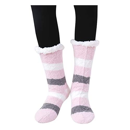 SKOLA 1 Women's Winter Soft Thick Warm Cozy Fuzzy Fleece-lined Gift Grippers Slipper Socks Thermal Double Layer Crew (Pink Gray Stripe)