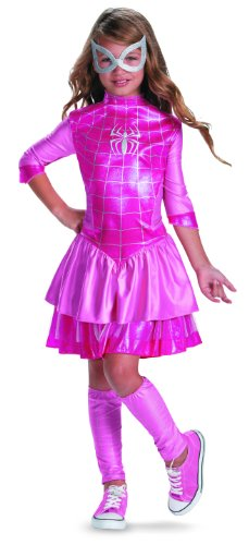 Child Deluxe Spidergirl Costumes (Disguise Marvel Classic Spider-Girl Shimmer Deluxe Girls Costume, 7-8, Pink)