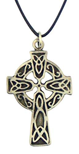 (Celtic High Cross 1 1/2 Inch Silver Tone Pendant on Cord Chain)