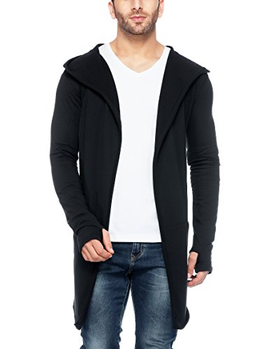 Blend Long Cardigan - Tinted Men's Cotton Blend Hooded Long Line Cardigan with Thumb Insert