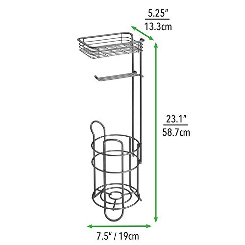 mDesign Freestanding Metal Wire Toilet Paper Roll Holder Stand and Dispenser with Storage Shelf for Cell, Mobile Phone - Bathroom Storage Organization - Holds 3 Mega Rolls - Bronze (Toilet Stand Holder)