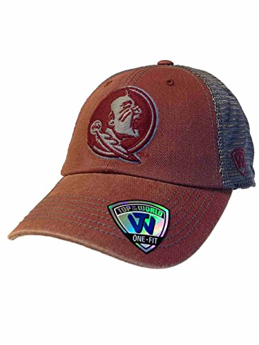 Top of the World Florida State Seminoles Tow Red Gray Mortar Mesh Backed Flexfit Slouch Hat -