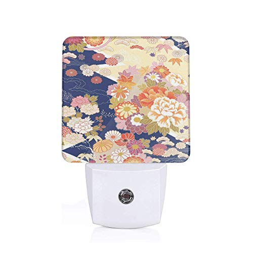 Colorful Plug in Night,Traditional Kimono Motifs Composition Asian Ethnic Floral Patterns Vintage Artwork,Auto Sensor LED Dusk to Dawn Night Light Plug in Indoor for Childs Adults