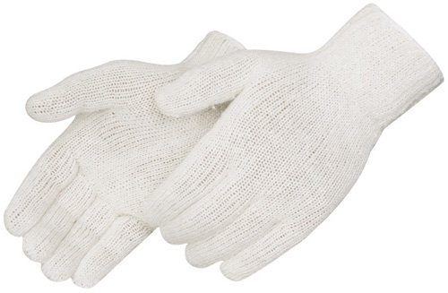 Black Elastic Glove - Liberty K4517Q Cotton/Polyester Regular Weight Plain Seamless Knit Glove with Elastic String Knit Wrist, Large, Natural White (Pack of 12)