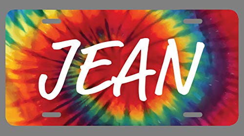 JMM Industries Jean Name Tie Dye Style License Plate Tag Vanity Novelty Metal 6-Inches by 12-Inches Premium Quality UV Print NP1409
