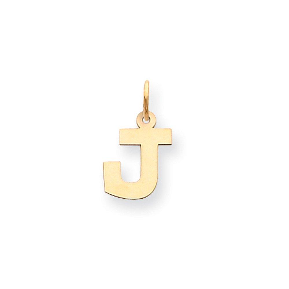 Small Block Initial J Pendant Amanda Collection 14k Yellow Gold