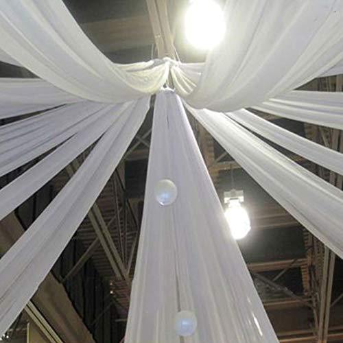 Efavormart 30FT Fire Retardant White Sheer Voil Curtain Panel Backdrop - Premium - Draping Wedding Ceiling