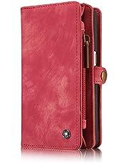 Leather Wallet Phone Case iPhone 6/iPhone 6S/iPhone 6 Plus/iPhone 6S Plus/iPhone 7/iPhone 7 Plus/S7 Edge/S7,Premium Zipper Flip Wallet Case Cover With Detachable Magnetic Hard Case
