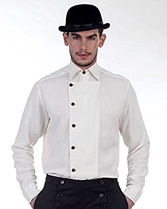 Victorian Men's Shirts- Wingtip, Gambler, Bib, Collarless Steampunk Victorian Costume Ulysses Side-Button Shirt  AT vintagedancer.com