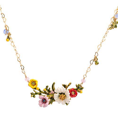 JUICY GRAPE Ladies Exquisite Cloisonné Handmade Enamel Necklace for Women, Vintage Real Gold, Multi Stones, Beautiful Daisy