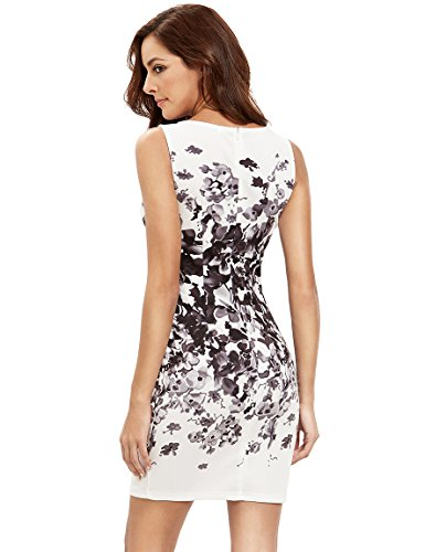 Flower amp; Bodycon Party Dresses White Summer Neck Women's Sleeveless Round Print Cocktail Floral Sexy Floerns Black wZOvX0qw