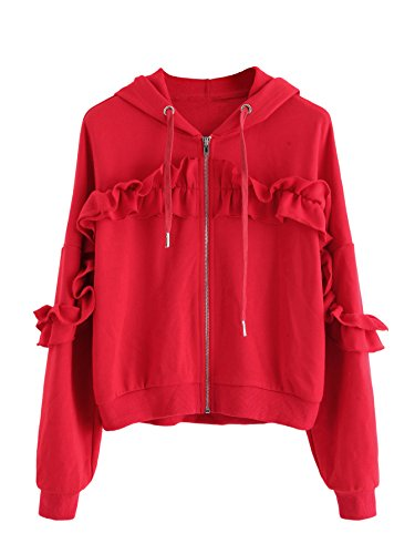 Romwe Women's Drop Shoulder Shirred Frill Trim Ruffle Zip Up Sweatshirt Jacket Hoodie Red L (Trim Jacket Hoodie)