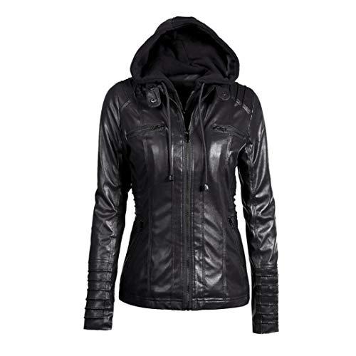 Rambling Womens Hooded Leather Jacket, Slim Overcoat Coat Lapel Removable Zipper Outwear Tops by Rambling (Image #7)