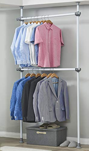 ALLZONE Adjustable Closet Rod Double Rail,Freestanding Clothing Garment Rack Organizer System, NEVERRUST,No Drilling, No Tools, Adjustable Height Width, 94-117Inch Height (Floor To Ceiling Pole Shelves)