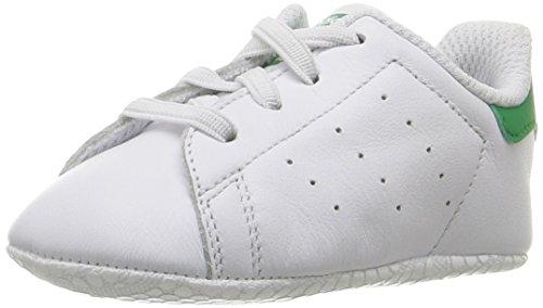 adidas Originals Boys' Stan Smith Crib Running Shoe, White/Green, 1 Medium US Infant