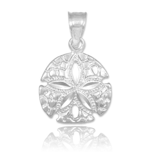 10k White Gold Polished Sea Star Charm Sand Dollar Pendant