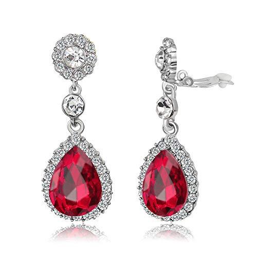 Gorgeous Austrian Cut Crystal Ear Clip on Earrings Wedding Bridal Tear Drop Dangle Earrings (Clip on Red)