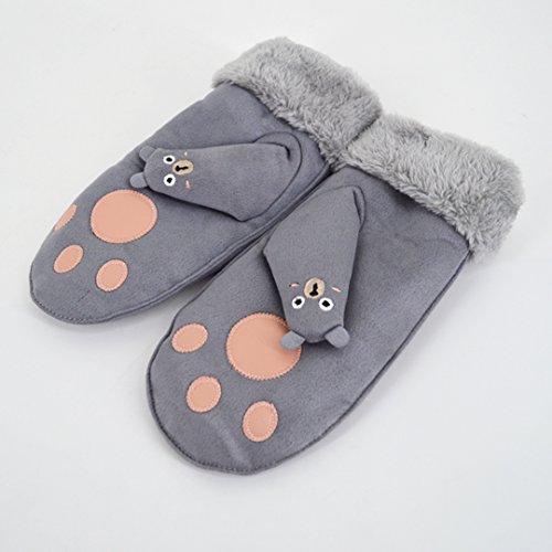 os ni gamuza y Winter Bear para guantes Warm gamuza Grey en Thicken Cute de Abby terciopelo A71q7