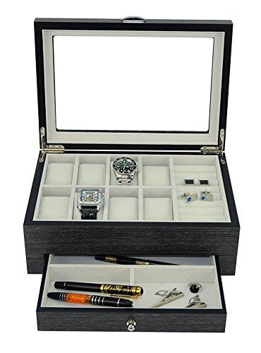 - New Executive GINKO Wood Valet Storage Organizer Men's Jewelry Box (Ginko)