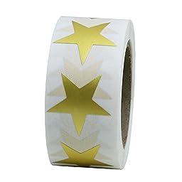 Hybsk(TM) Gold Star Shape Paper Sticker Labels Packaging Seals Crafts Wedding Favor Tag Labels 500 Total Per Roll (1 roll)