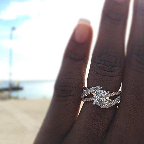X Ring Simulated Diamond for Women Jiayit New Design White Diamond Jewelry Anniversary Gift Wedding Band Engagement Rings ()