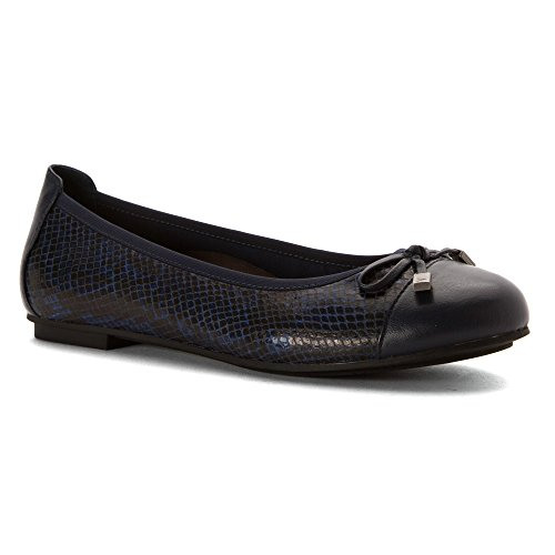 Vionic Womens 359 Minna Leather Shoes Serpiente, azul marino